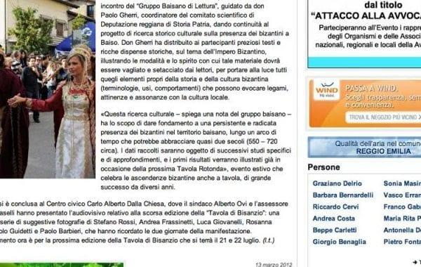 Una ricerca culturale sulla presenza dei bizantini – Gazzetta di Reggio 13 marzo 2012